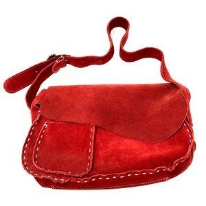 FRANCESCO BIASIA red suede slouch shoulder bag